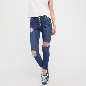 Free People Destroyed Regan Button Front Jeans